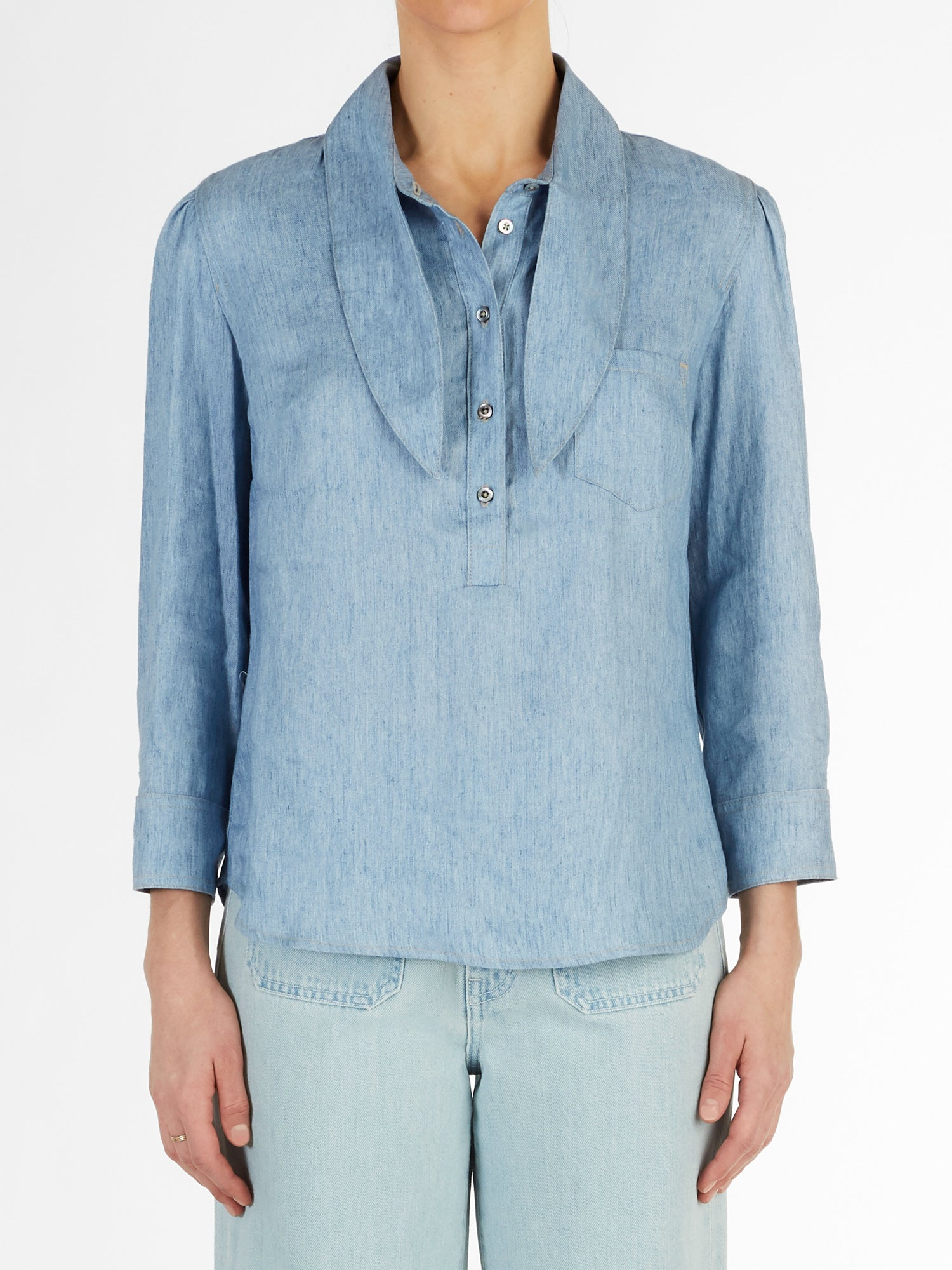 Long Collar Linen Chambray Top