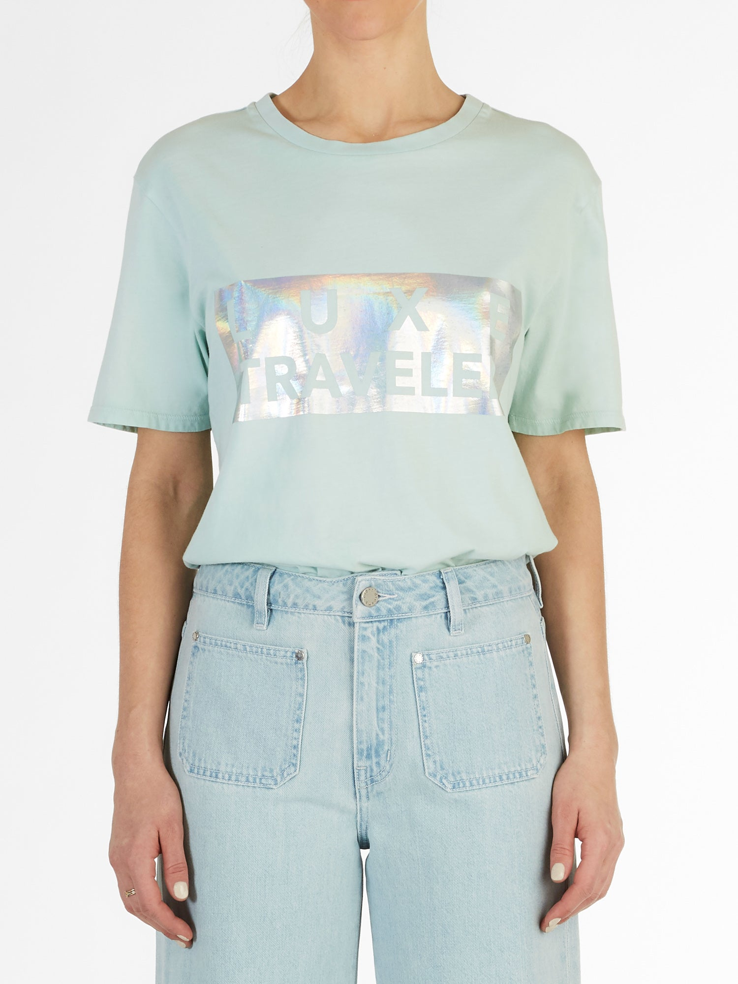 Luxe Traveler Boyfriend Tee in Mint Green Italian Cotton Jersey