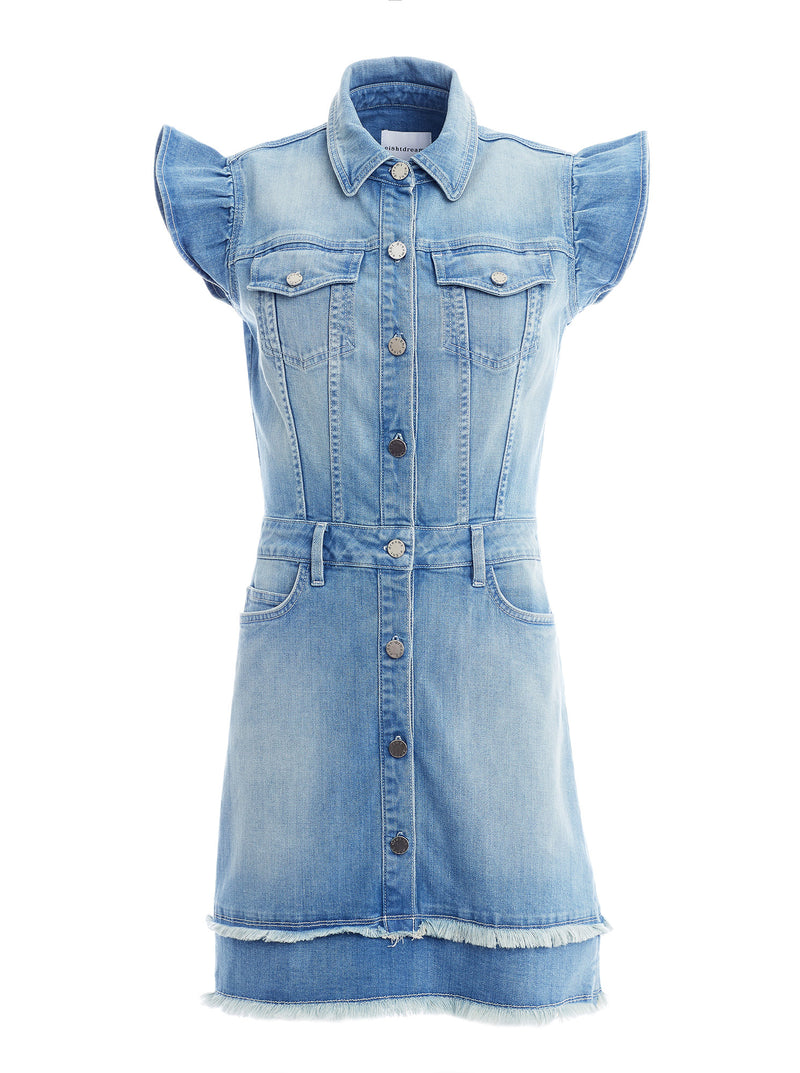 Madison Frill Sleeve Denim Dress