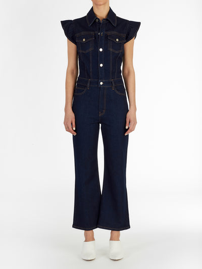 Madison Frill Sleeve Jumpsuit in Italian Stretch Denim