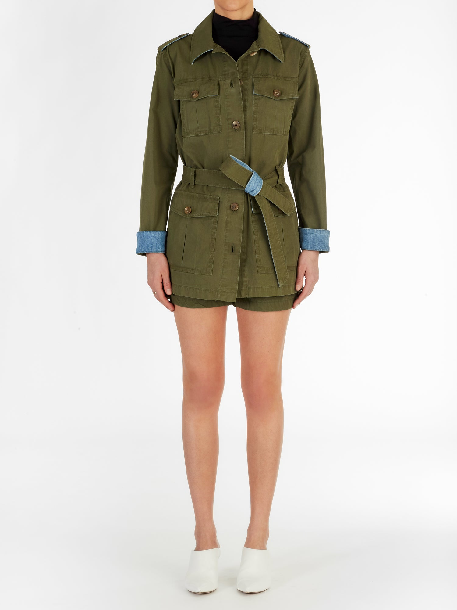 Madrid Italian Cotton Utility Jacket in Olive Green