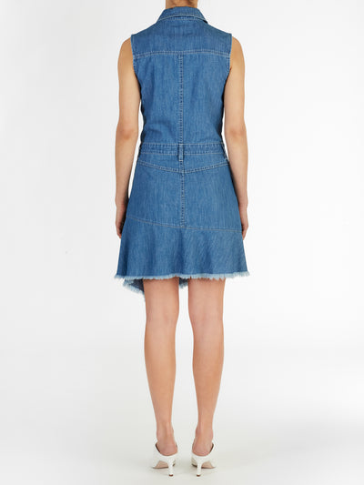 Marais Asymmetric Dress in Medium Wash Japanese Chambray