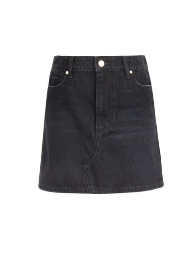 Mini Skirt in Distressed Black Wash