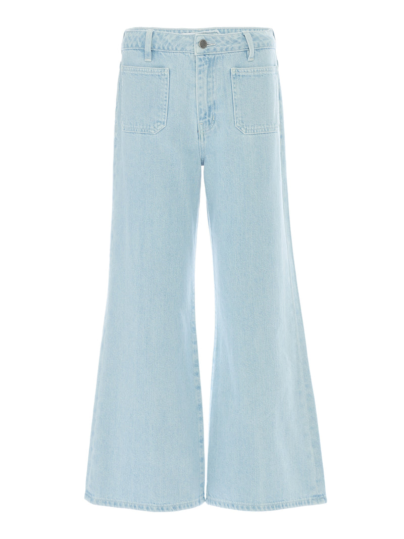 Natalia Patch Pocket Wide Leg Jeans in Light Wash Soft Italian Denim