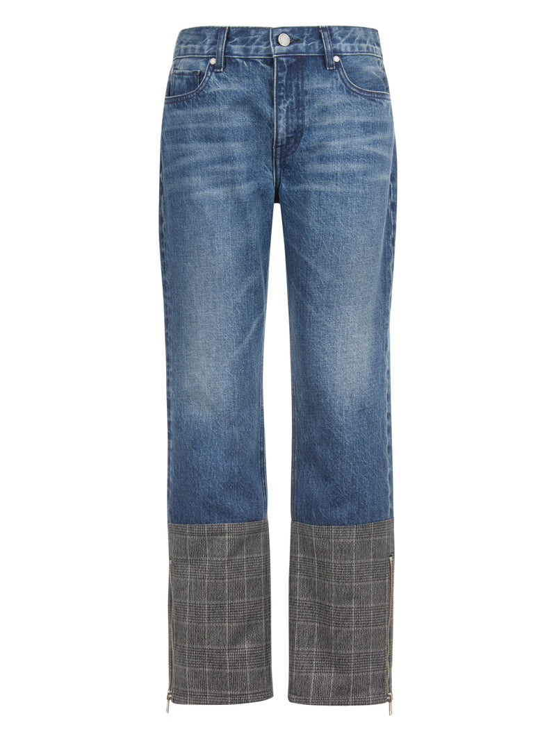Plaid Block Straight Jeans in Rigid Italian Denim