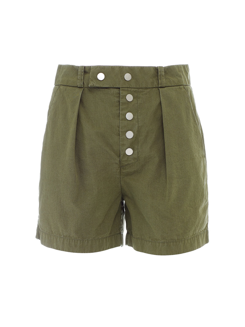 Porto Italian Cotton Snap Fly Short in Olive Green