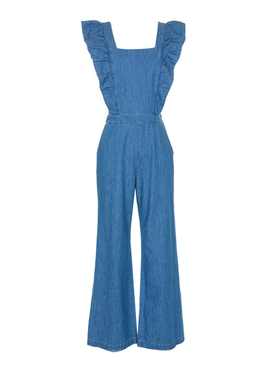 Ruffle Jumpsuit in Japanese Chambray