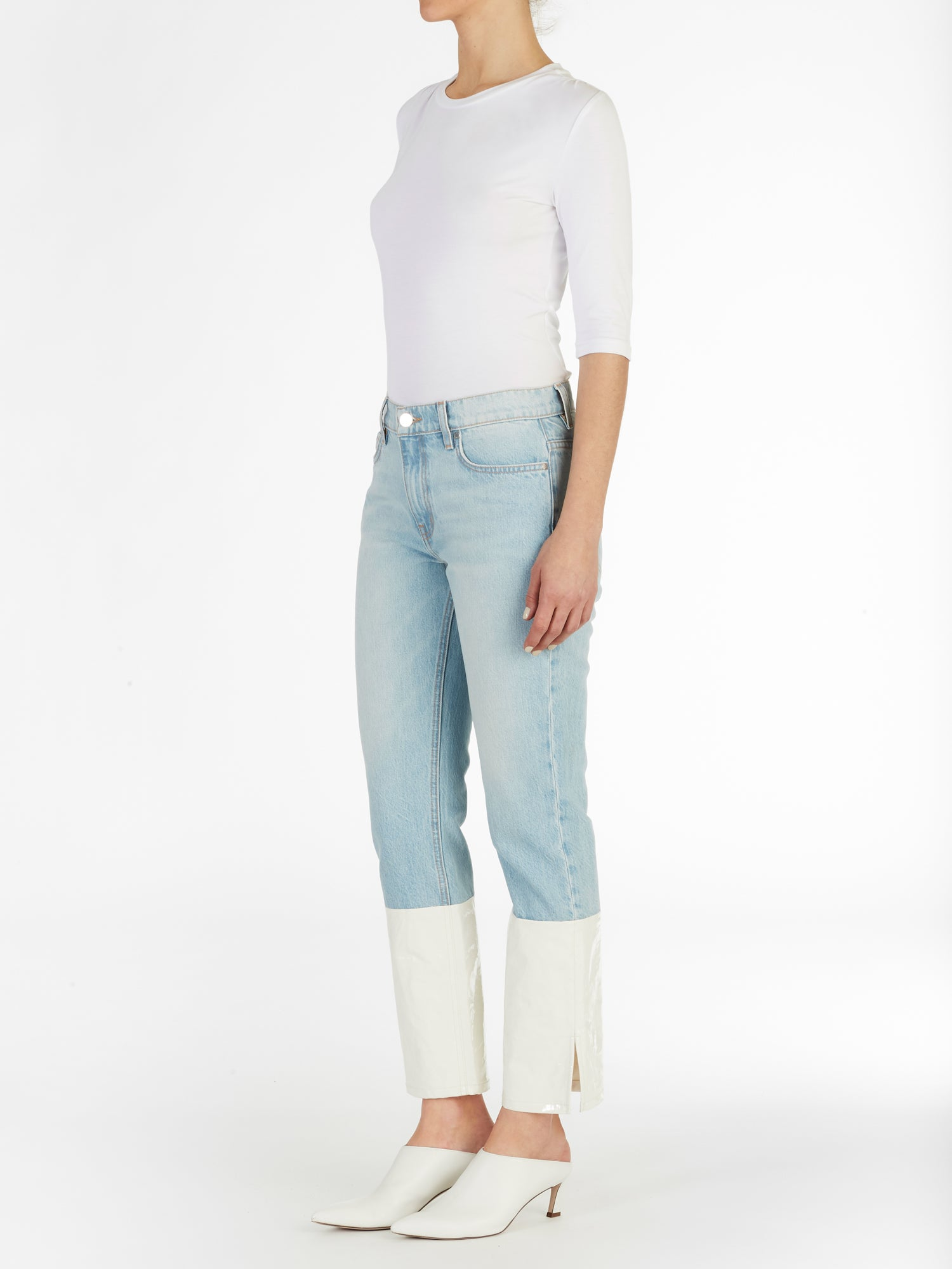 Shoreditch PU Block Straight Jeans in Light Wash