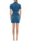 Short Sleeve Denim Mini Dress in Medium Wash