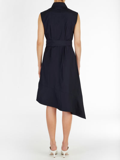 Sleeveless Poplin Midi Dress with Self Tie in Navy