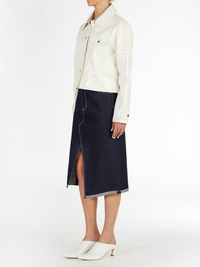Soho Linen Enamel PU Cropped Jacket in White