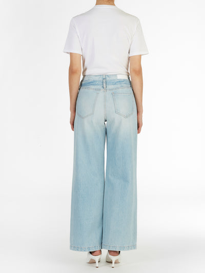 Taylor Belted Wide Leg Jeans in Rigid Light Wash Italian Denim