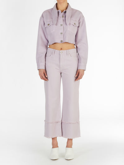 Long Collar Crop Jacket in Frosted Lilac Rigid Italian Denim
