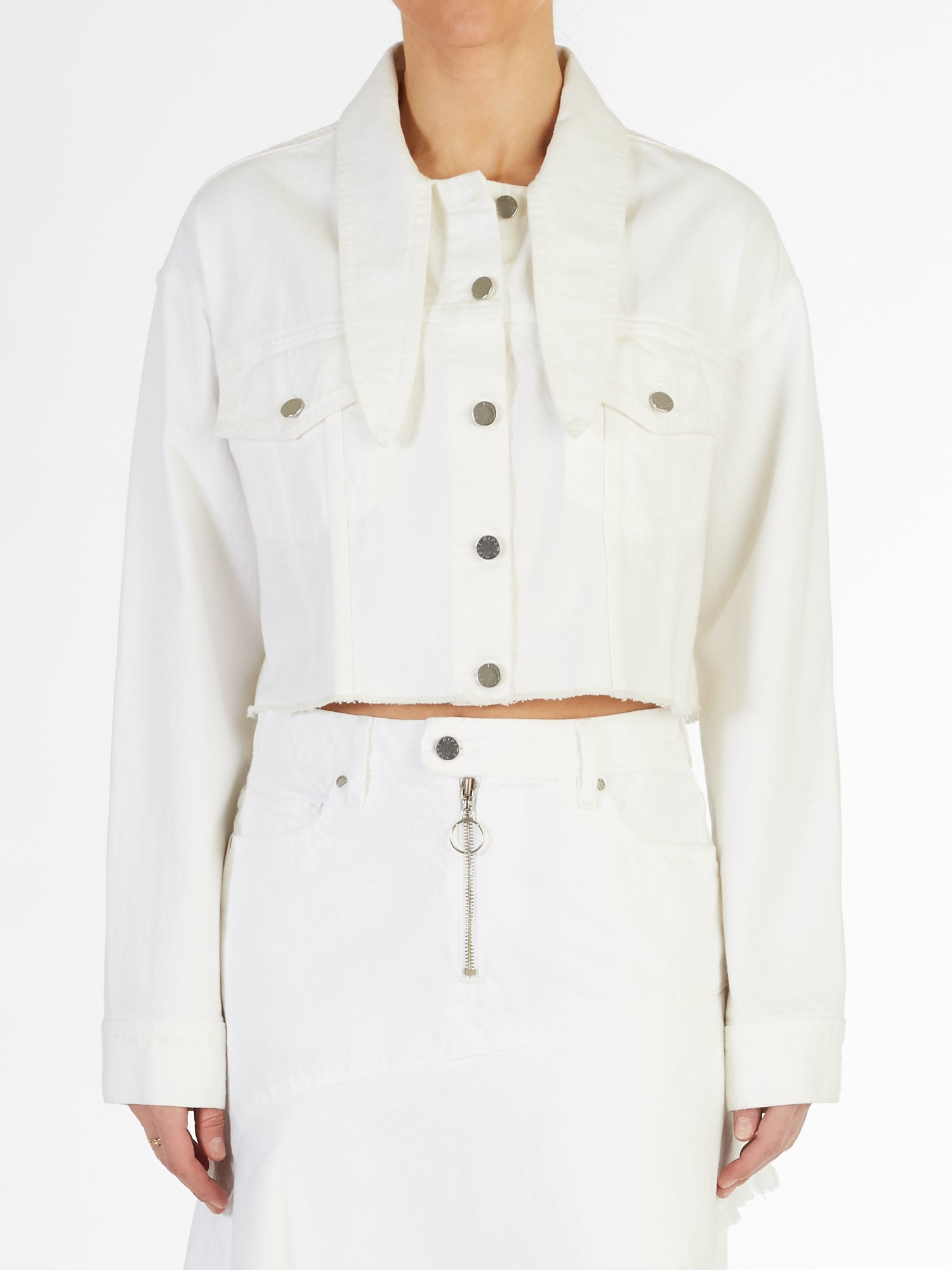 Long Collar Crop Jacket in Rigid Italian Denim