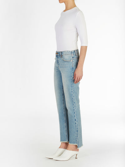 Uneven Hem Cropped Straight Jeans in Rigid Italian Denim