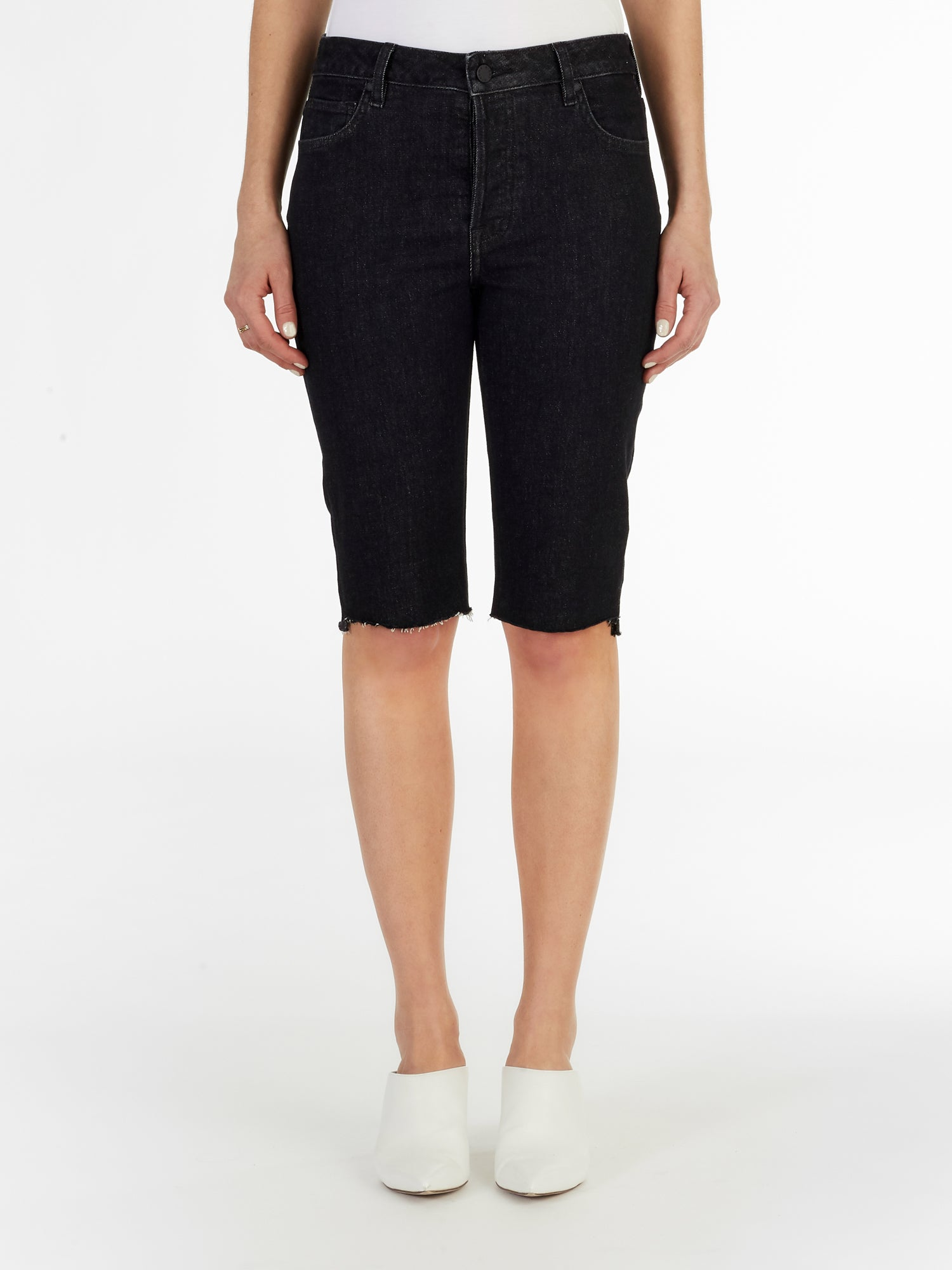 Uneven Hem Cycling Short in Stone Washed Black Italian Stretch Denim