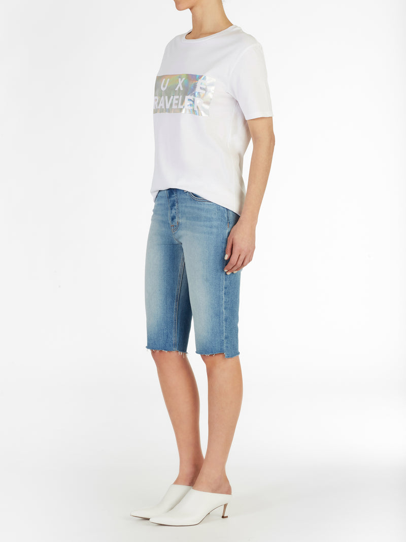 Uneven Hem Cycling Short in Light Wash Italian Stretch Denim