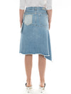 Zip Front Asymmetric Denim Skirt in Light Wash