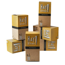 Load image into Gallery viewer, Ditch the plastic straw and say HAY! to our biodegradable straws. Full Case contains 3000 of 100% natural HAY! Straws® a compostable and plastic-free option perfect for your restaurant or bar. Strong, sturdy, made from natural wheat stems and gluten-free. Plastic-free packaging. Two sizes available: 7.75 in and 5in.