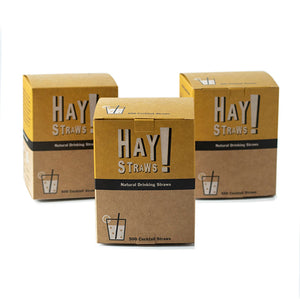 "Our straws are 100% biodegradable, made from natural wheat stems and Gluten-free. Plastic-free packaging. HAY! Straws® Half Case contains 1500 straws. Ideal for our small wholesale partners, mom-and-pop restaurant diners and cafes. Available in two straw: Tall 7.75"" and Cocktail 5""."