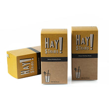"Load image into Gallery viewer, Our straws are 100% biodegradable, made from natural wheat stems and Gluten-free. Plastic-free packaging. HAY! Straws® Half Case contains 1500 straws. Ideal for our small wholesale partners, mom-and-pop restaurant diners and cafes. Available in two straw: Tall 7.75"" and Cocktail 5""."