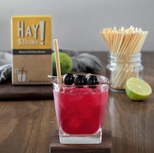 "Load image into Gallery viewer, HAY! Straws® Mastercase is our most competitively priced product and sized for our wholesale partners.  The mastercase contains 12,000 straws and is ideal for restaurants, bars and hotels. There are two straw sizes available; Tall 7.75"" and Cocktail 5"". Our straws are 100% biodegradable, made from natural wheat stems, Gluten-free, and plastic-free packaging."