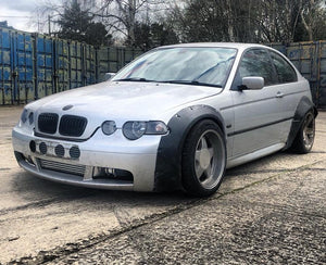 Bmw rocket bunny style e46 compact wiee arches drift m3 50mm fronts 80mm rears