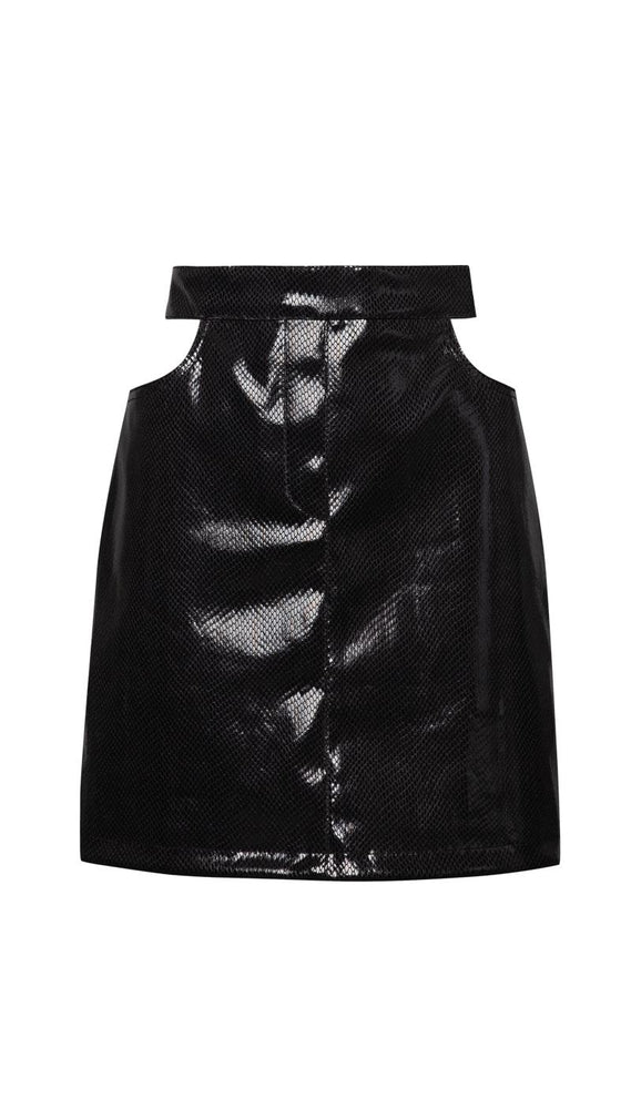 Cutout croco leather skirt