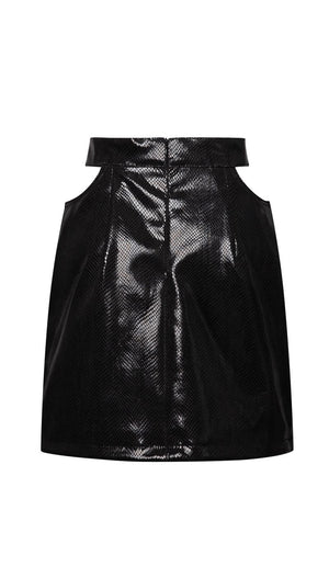 Cutout Croco Leather Skirt Skirts