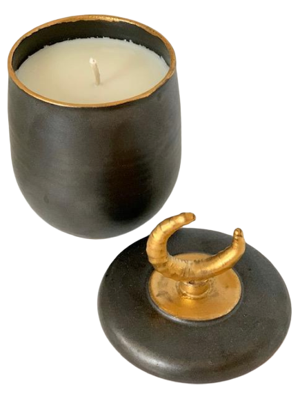 Holiday Candle poured in 14kt Gold Ceramic Vessel