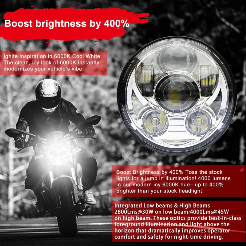 wisamic 5-3/4 led headlight black