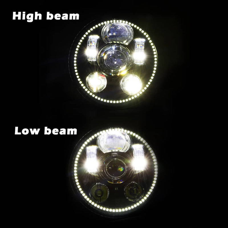 "5-3/4"" 5.75"" LED Headlight - with Halo DRL Compatible with Harley Davidson Dyna"