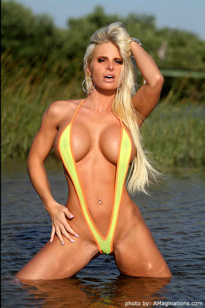 Yellow Mesh and Neon Orange Slingshot Bikini