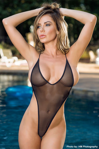 Sheer Bodysuit (Criss Cross Back)