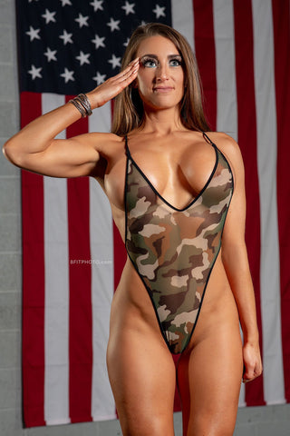 Sheer Camouflage Criss Cross Back Bodysuit