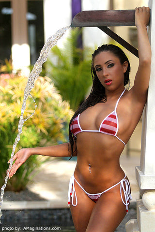 Red And White Stripe Mesh Bikini