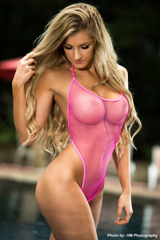 Pink Fishnet Bodysuit