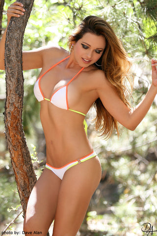 White, Orange, Yellow Brazilian Bikini