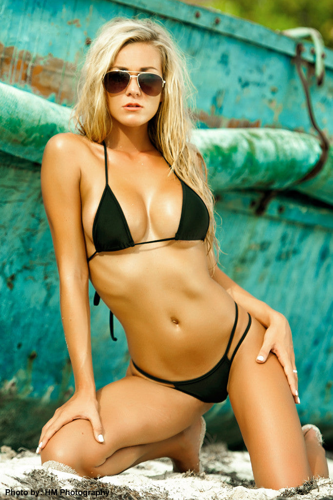 double strap black brazilian swimsuit