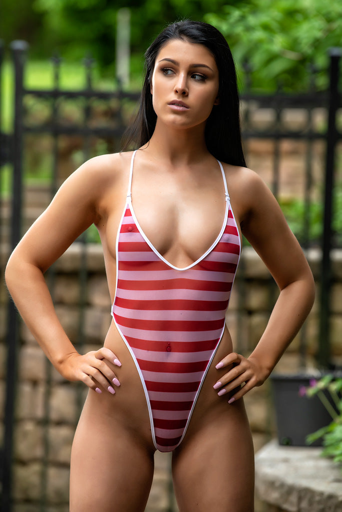 red sheer nautical stripes bodysuit bikini