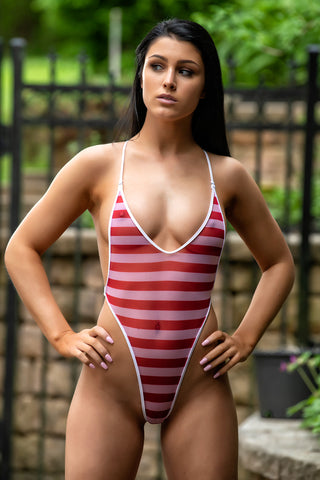 Sheer Red/White Stripes Bodysuit