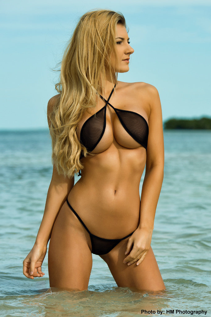Black Wrap Around Fishnet Bikini