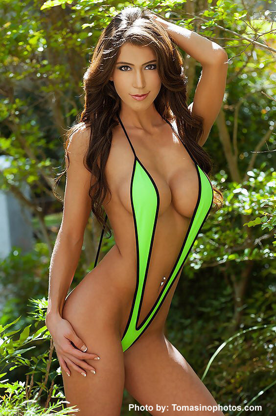 Green And Black Slingshot Bikini