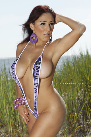 Purple Animal Print Slingshot Bikini