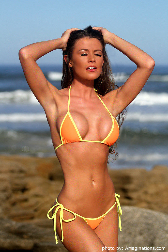 Orange and Yellow Micro Scrunch Butt Bikini