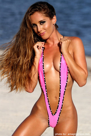 Pink And White/Black Polka Dot Slingshot Bikini
