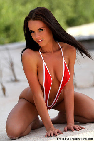 Red Mesh And White Slingshot Bikini