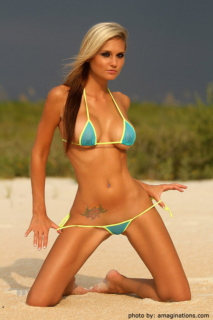 Turquoise Mesh And Yellow G-string Bikini