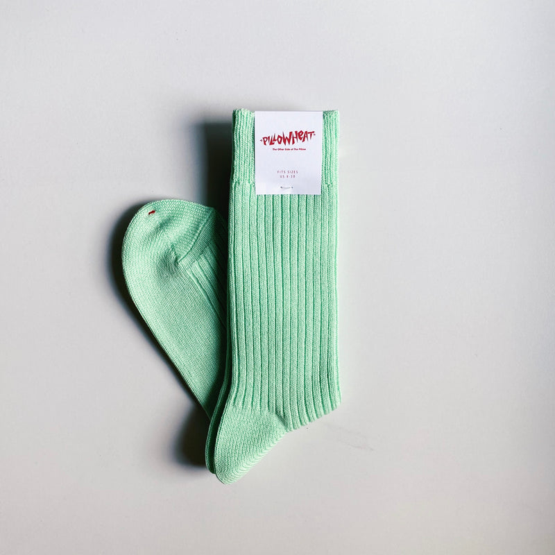 PILLOWHEAT CREW SOCKS - MINT GREEN