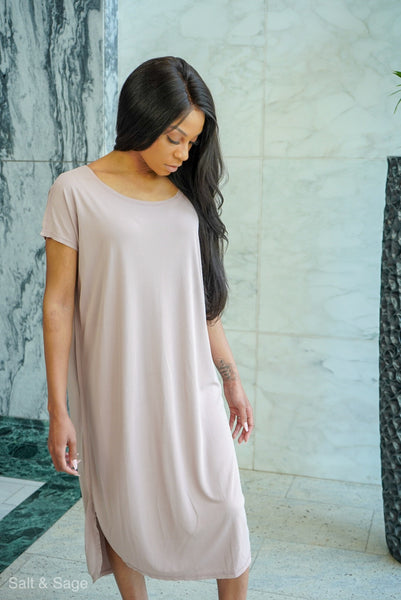 Honey Just Relax Dress- Dusty Pink